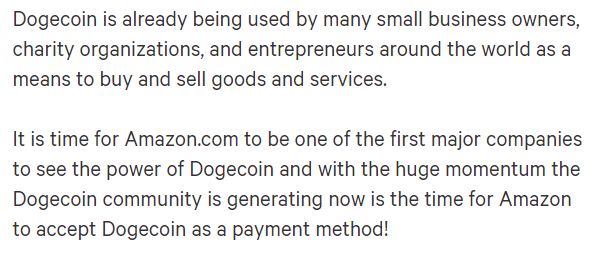 Dogecoin petition. Source: Change.org.