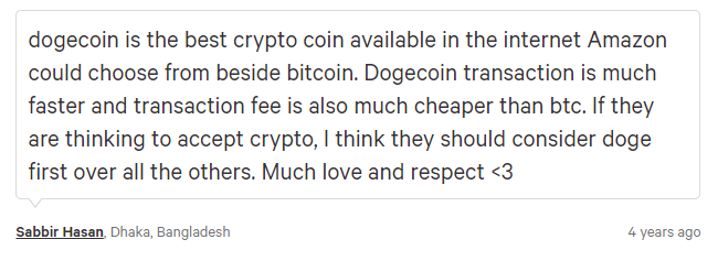 Sabbir Hasan comment about Dogecoin.Source: Change.org.