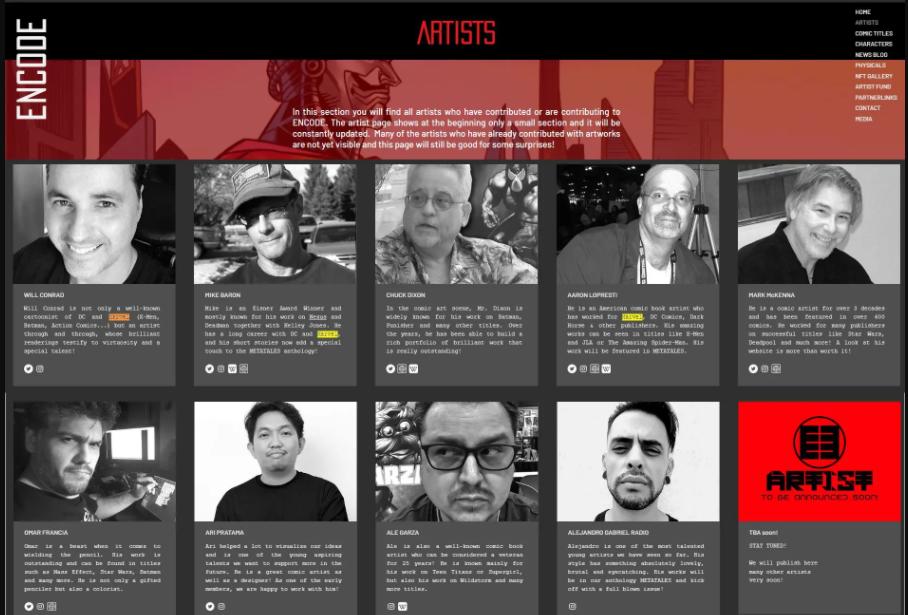 ENCODE artists. Source: Livecoins.